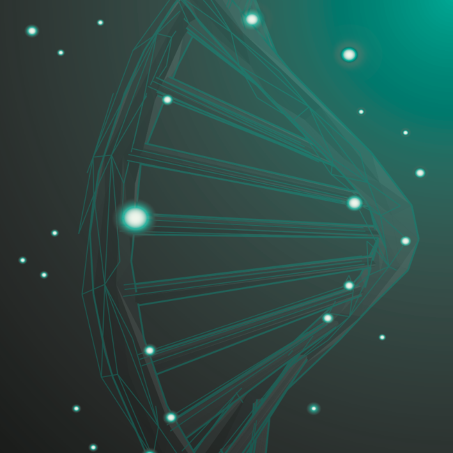 DNA Helix with particles